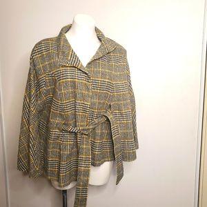 NY&CO Plaid Wool Blend Cape Jacket